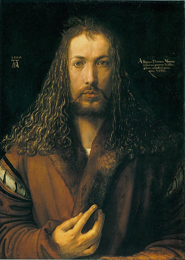 Автопортрет в одежде, отделанной мехом, 1500