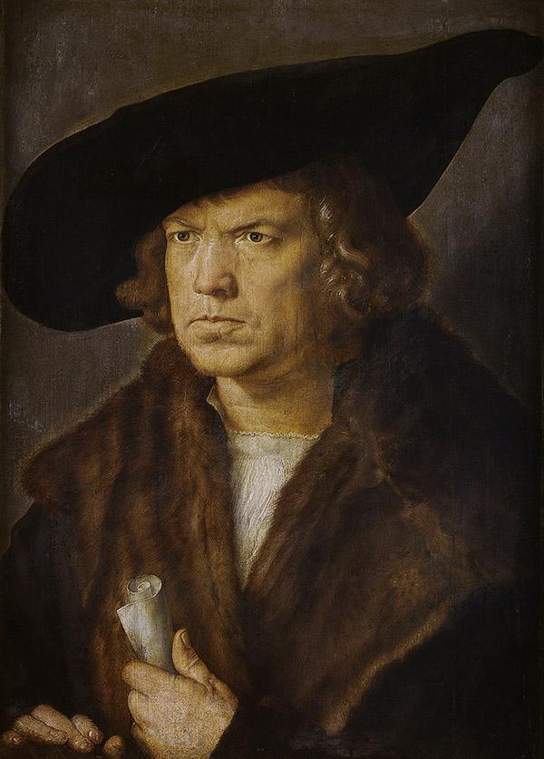 Альбрехт Дюрер. Портрет мужчины в берете и свитке, 1521