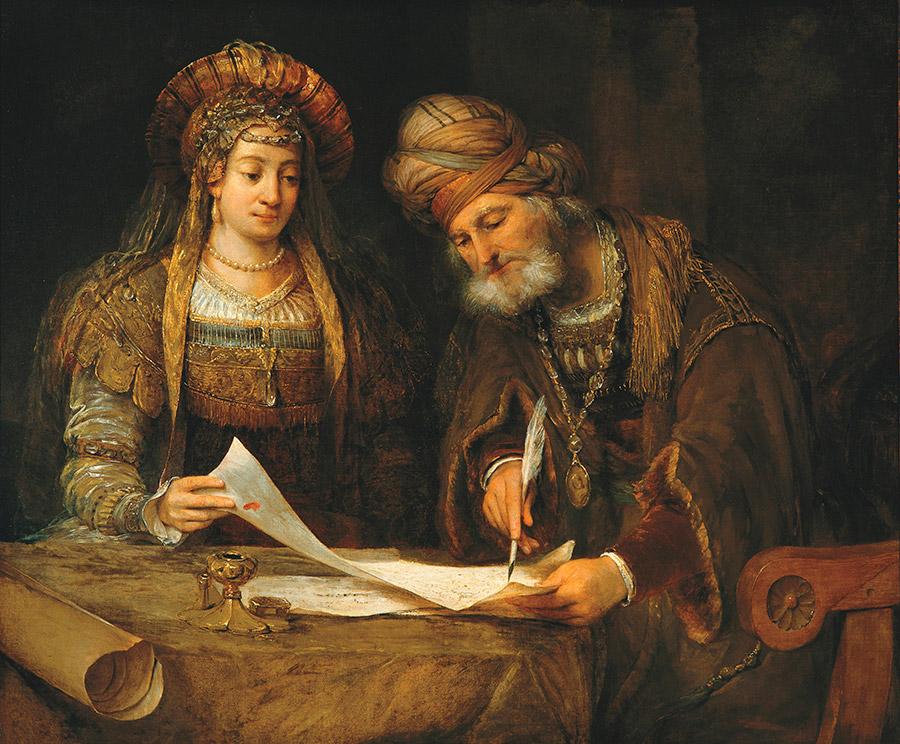 Арент де Гелдер (нид.Aert de Gelder) Эсфирь и Мордехай пишут письма иудеям, 1675