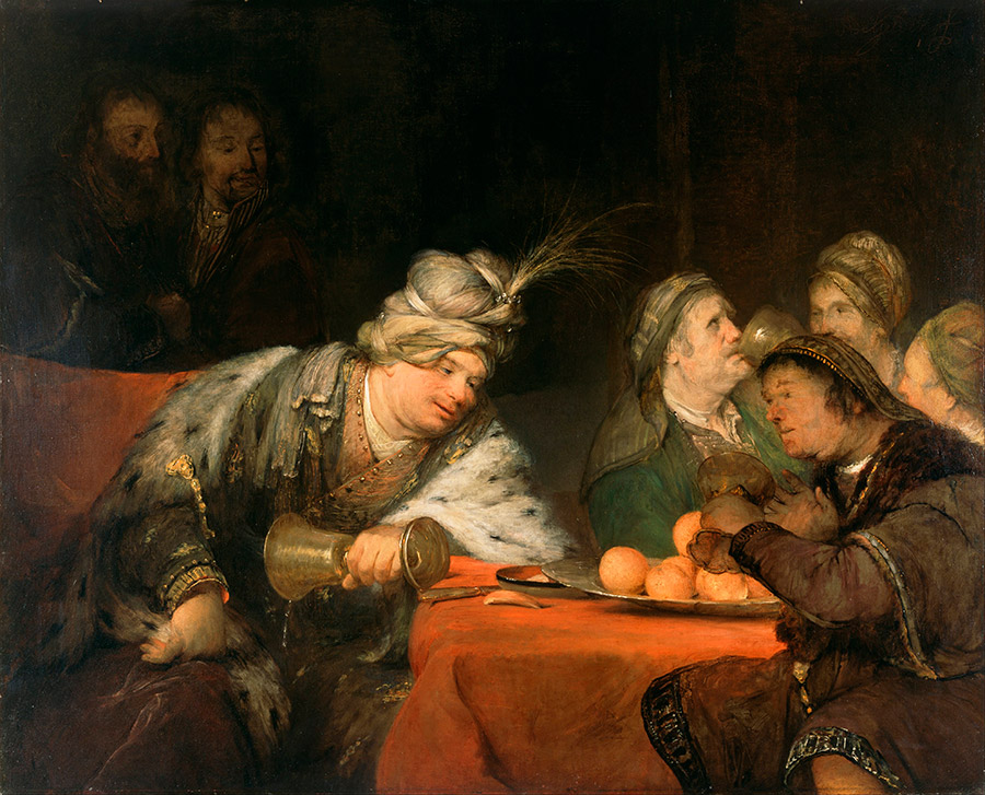 Арент де Гелдер (нид.Aert de Gelder) Пир Ахасфера, 1680