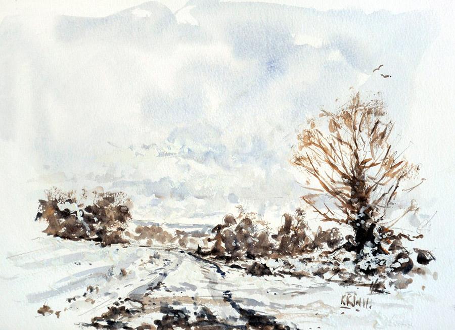 Кирон Вильямсон (Kieron Williamson) – художник. Зимний переулок, 2012