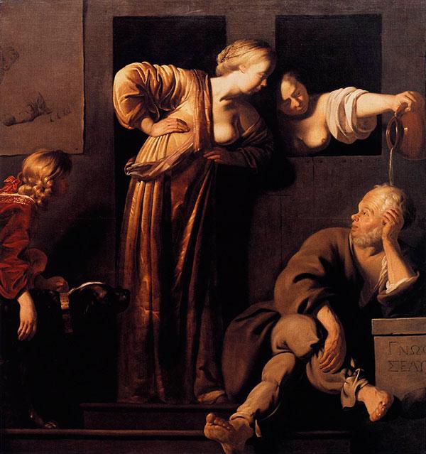 Blommendae,_Reyer_Jacobsz._van_-_Xantippe_Dousing_Socrates_-_c._1655