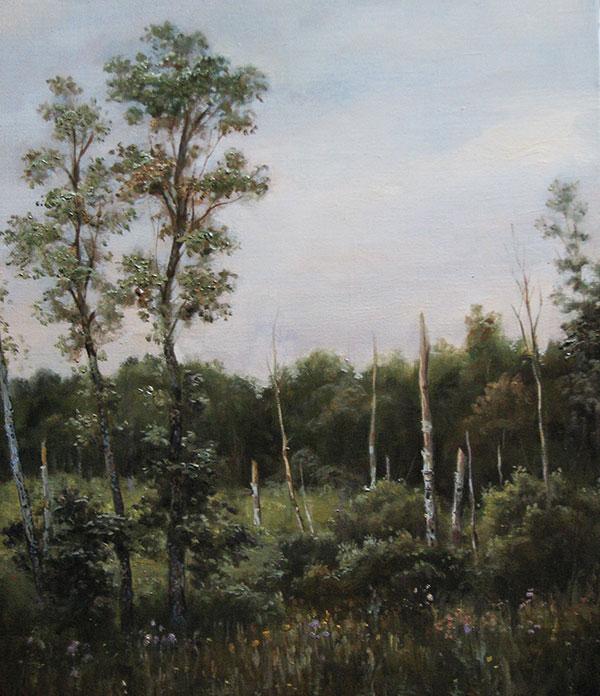 Андрей Шишкин (Andrey Shishkin) - художник, Заболоченный лес, 2008