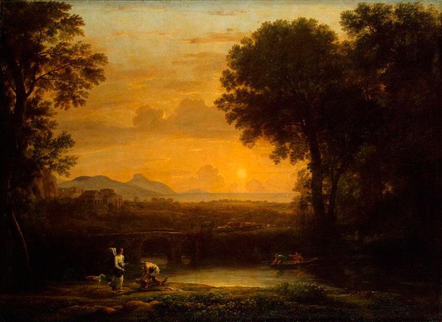 Клод Лоррен (Claude Lorrain) - художник-пейзажист, Из серии 4 времени года, Пейзаж с Товием и ангелом (Вечер). 1663