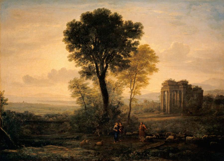 Клод Лоррен (Claude Lorrain) - художник-пейзажист, Из серии 4 времени года, Пейзаж с Иаковом, Рахилью и Лией у колодца (Утро). 1666
