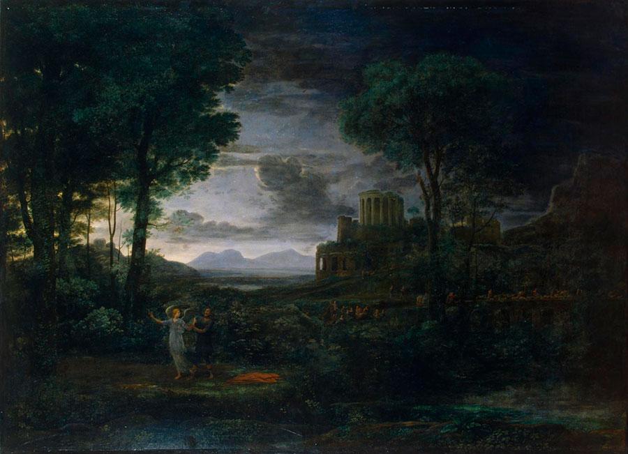 Клод Лоррен (Claude Lorrain) - художник-пейзажист, Из серии 4 времени года, Пейзаж со сценой борьбы Иакова с ангелом (Ночь). 1672