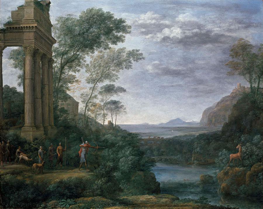 Клод Лоррен (Claude Lorrain) - художник пейзажист.  Асканий, стреляющий в оленя Сильвии, 1682