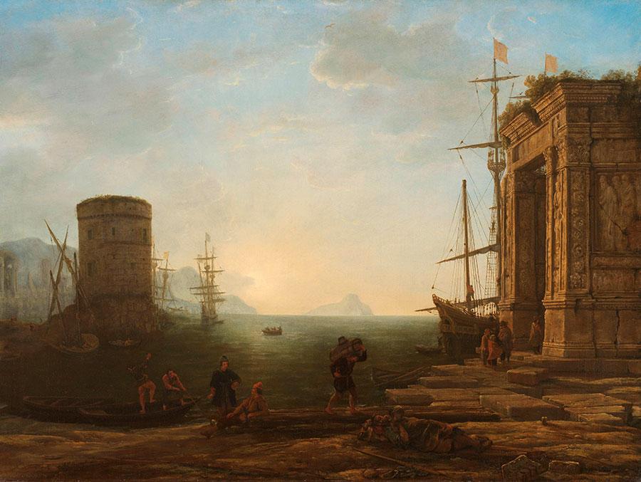 Клод Лоррен (Claude Lorrain) - художник-пейзажист,  Гавань на восходе солнца, 1637