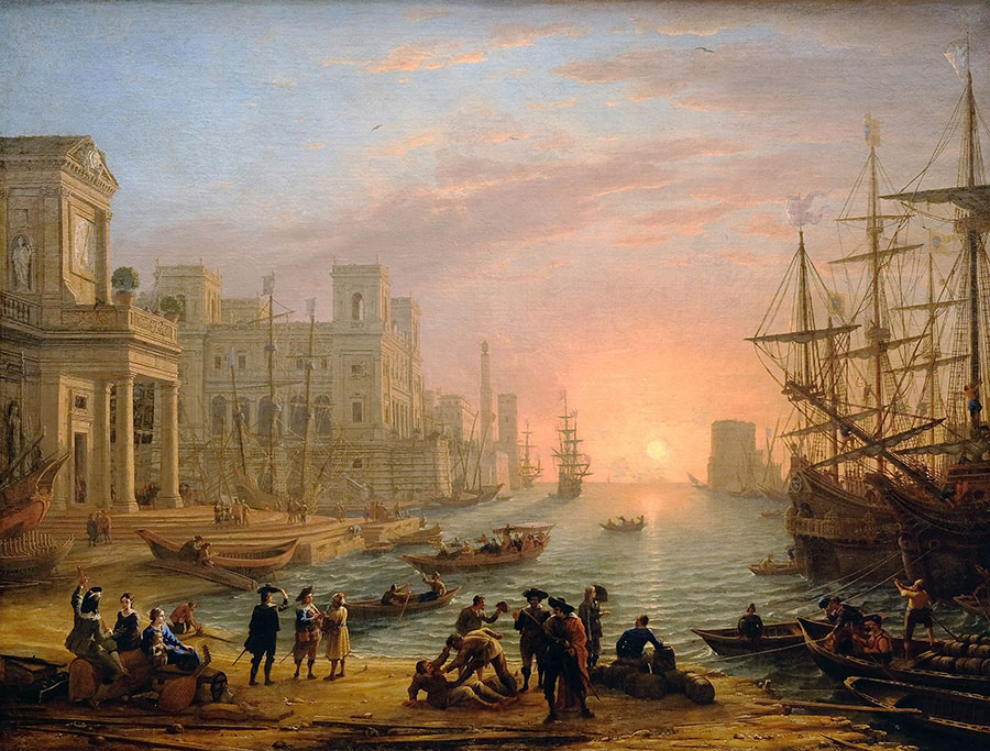 Клод Лоррен (Claude Lorrain) - художник-пейзажист, Морской порт на закате, 1639