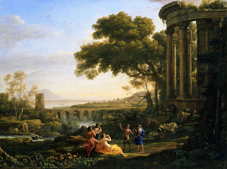 Клод Лоррен (Claude Lorrain) - художник-пейзажист, Пейзаж с танцующими Нимфой и Сатиром, 1641