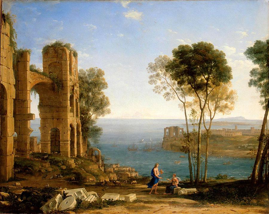 Клод Лоррен (Claude Lorrain) - художник-пейзажист, Coast View with Apollo and the Cumaean Sibyl, 1645-1649