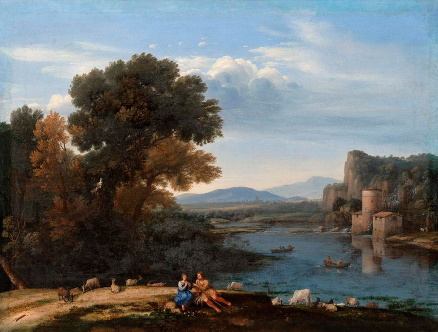 Клод Лоррен (Claude Lorrain) - художник-пейзажист, Мельница на Тибре, 1650