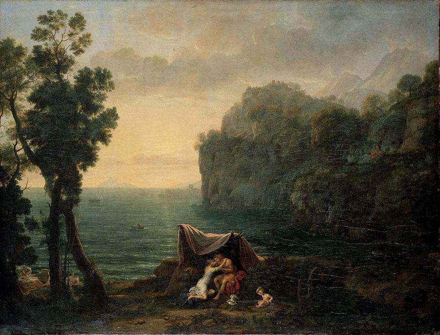 Клод Лоррен (Claude Lorrain) - Прибрежный пейзаж с Ацисом и Галатеей, 1657