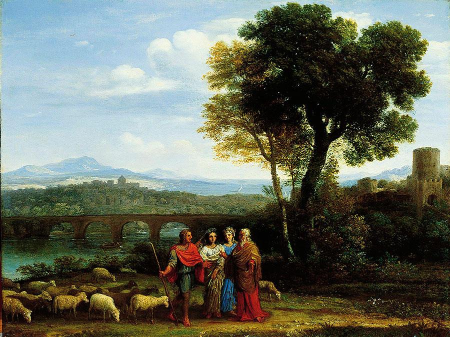 Клод Лоррен (Claude Lorrain) - Пейзаж с Иаковом, Лаваном и Его дочерьми, 1659