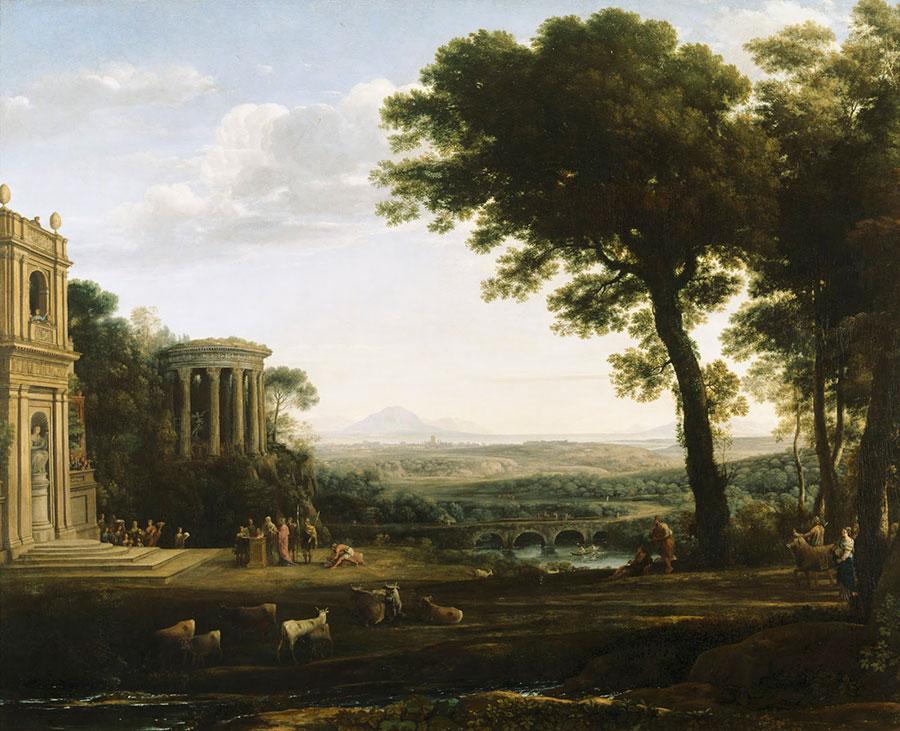 Клод Лоррен (Claude Lorrain) - Отец Психеи, приносящий жертвы в Храме Аполлона, 1663