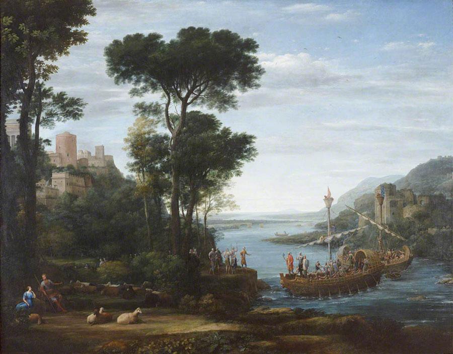 Клод Лоррен (Claude Lorrain) - The Arrival of Aeneas at Pallanteum, 1675