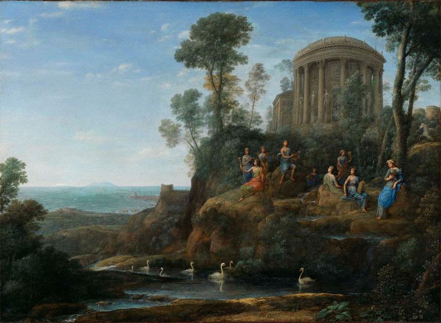 Клод Лоррен (Claude Lorrain) - художник-пейзажист, Аполлон и Музы на горе Гелион (Парнас), 1680