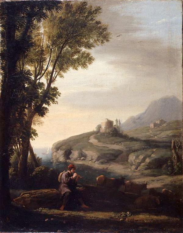 Клод Лоррен (Claude Lorrain) - Paysage pastoral au joueur de flûte, 1635