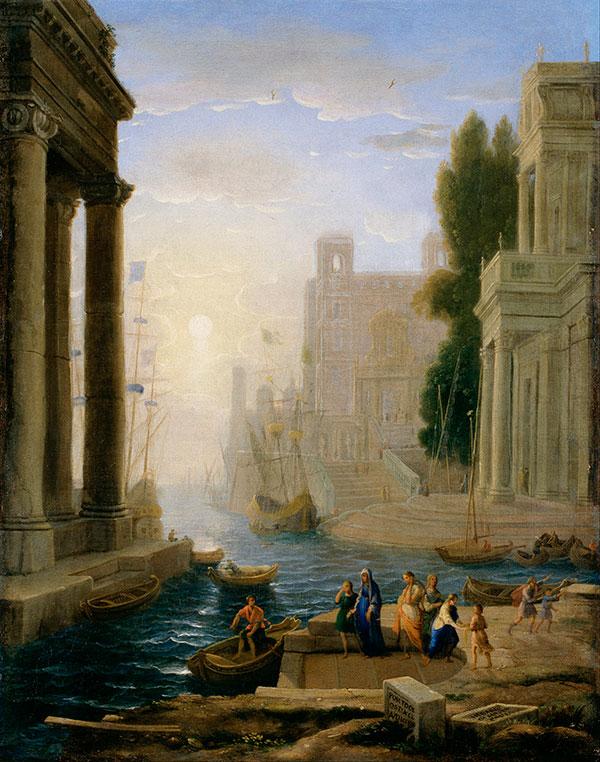 Клод Лоррен (Claude Lorrain) - Отплытие святой Паолы Римской, 1642