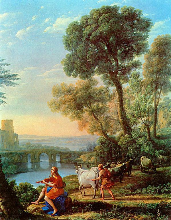 Клод Лоррен (Claude Lorrain) - пейзаж с Аполлоном и Меркурием, 1645
