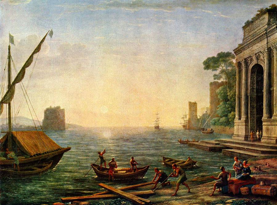 Клод Лоррен (Claude Lorrain) - художник-пейзажист, Морской порт.