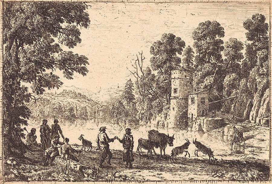 Клод Лоррен (Claude Lorrain) - художник-пейзажист, рисунок, Танец на берегу реки (La danse au bord de l'eau), 1634