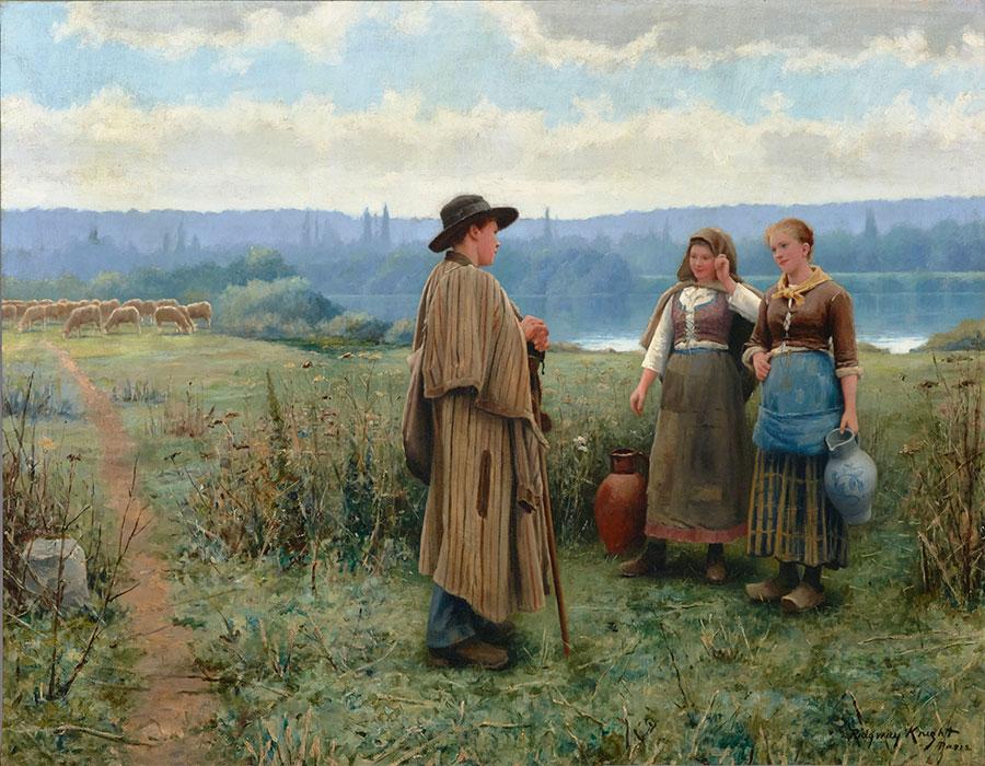 Дэниел Риджуэй Найт (Daniel Ridgway Knight) - художник,  Праздный момент, 1890-е