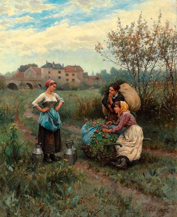 Дэниел Риджуэй Найт (Daniel Ridgway Knight) - художник, Три женщины в пейзаже, 1881