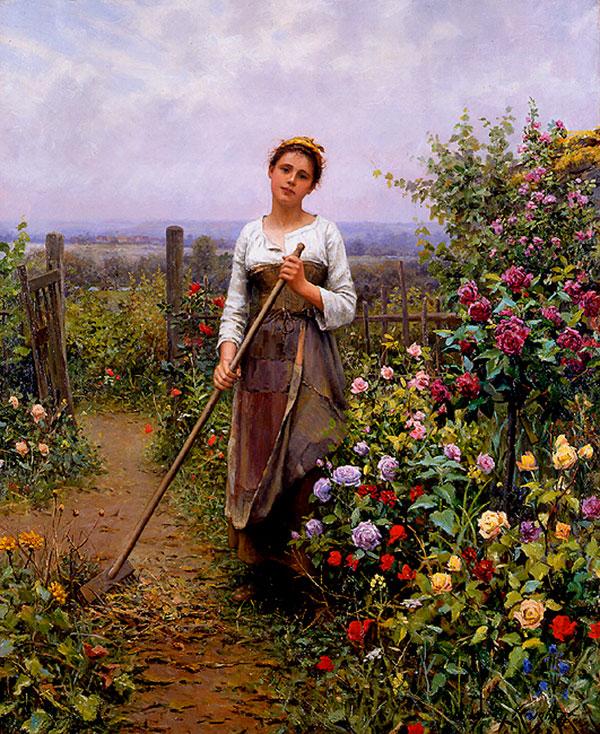 Дэниел Риджуэй Найт (Daniel Ridgway Knight) - художник, La petite jardiniere, 1887