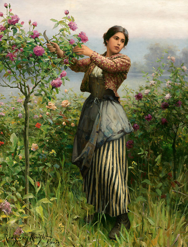 Дэниел Риджуэй Найт (Daniel Ridgway Knight) - художник, Срезание роз, 1895