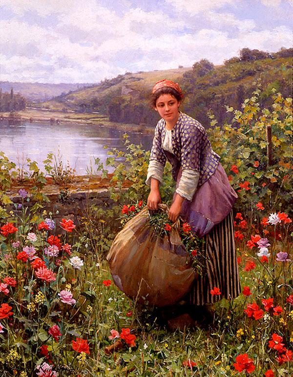 Дэниел Риджуэй Найт (Daniel Ridgway Knight) - художник, Траворезка, 1895