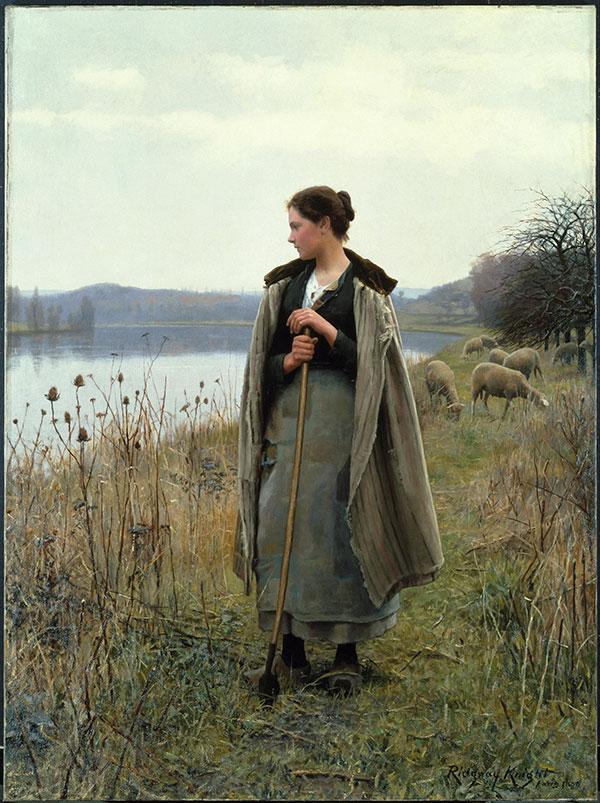 Дэниел Риджуэй Найт (Daniel Ridgway Knight) - художник, Пастушка из Роллебойза, 1896