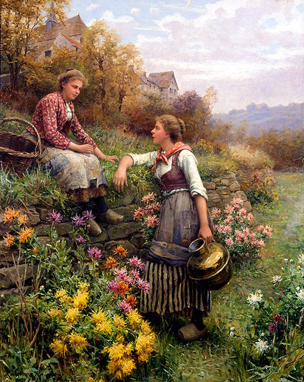 Дэниел Риджуэй Найт (Daniel Ridgway Knight) - художник, Сплетни, 1897