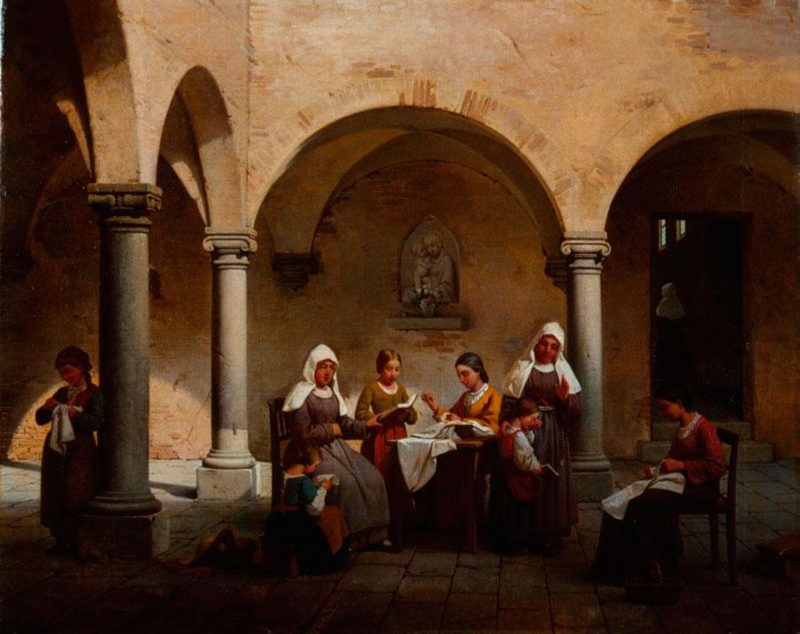 Гаэтано Чиерици (Gaetano Chierici) La lezione al convento, 1864