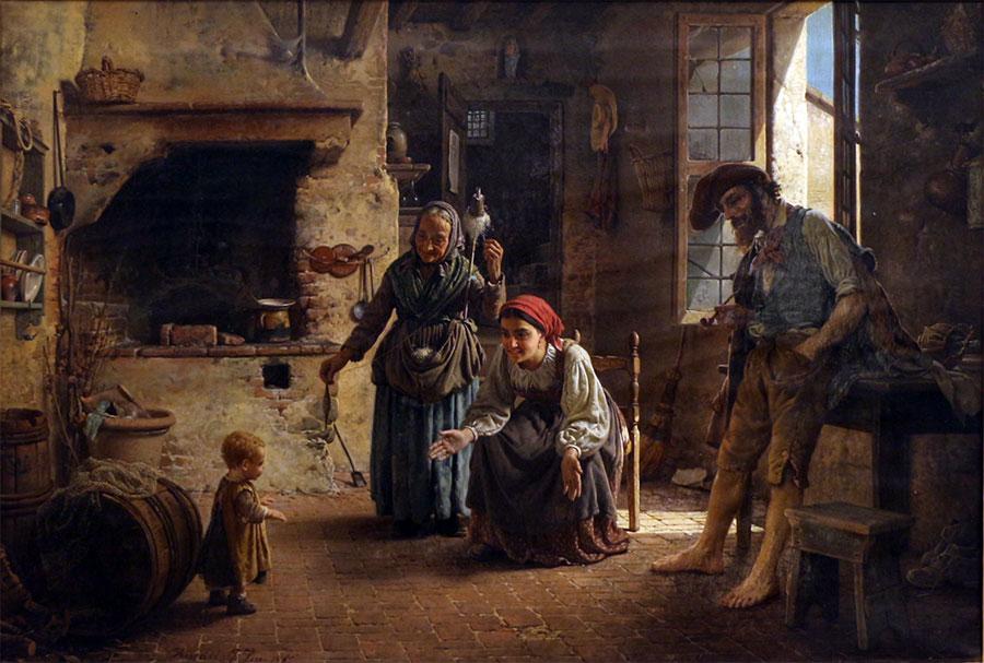 Гаэтано Чиерици (Gaetano Chierici), una scena domestica, primi passi, 1865