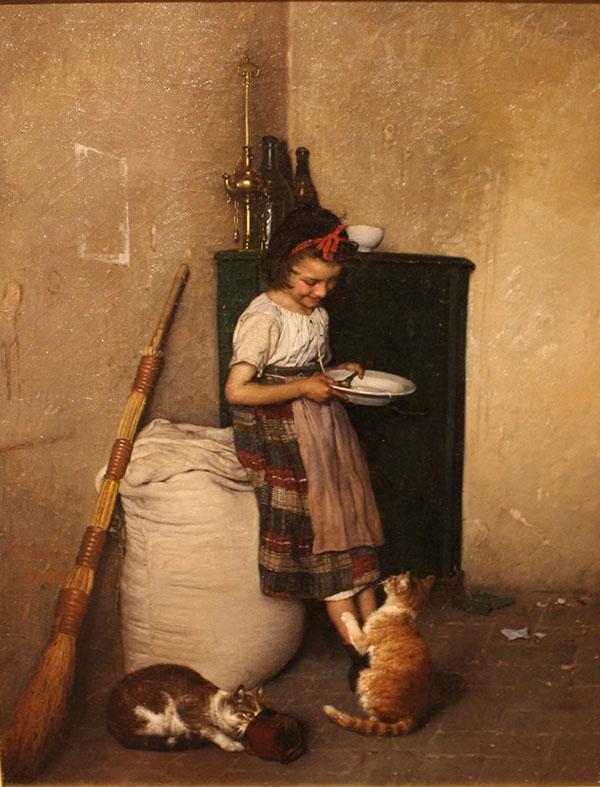 Гаэтано Чиерици (Gaetano Chierici), Ребенок кормит своих домашних животных, 1872
