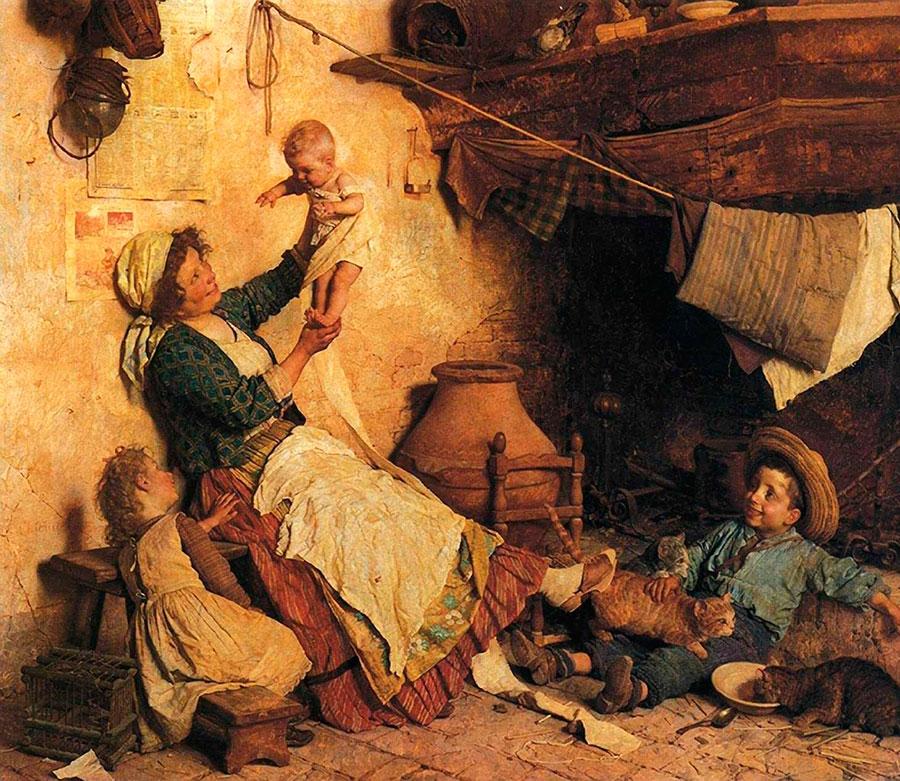 Гаэтано Чиерици (Gaetano Chierici), Семья с кошками
