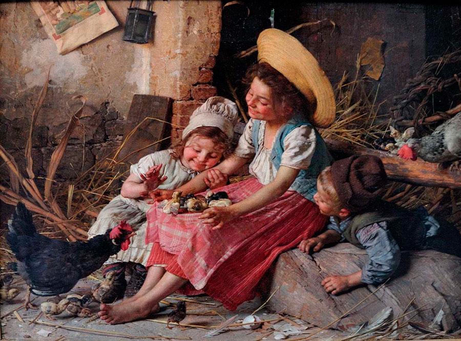 Гаэтано Чиерици (Gaetano Chierici), Дети и курица